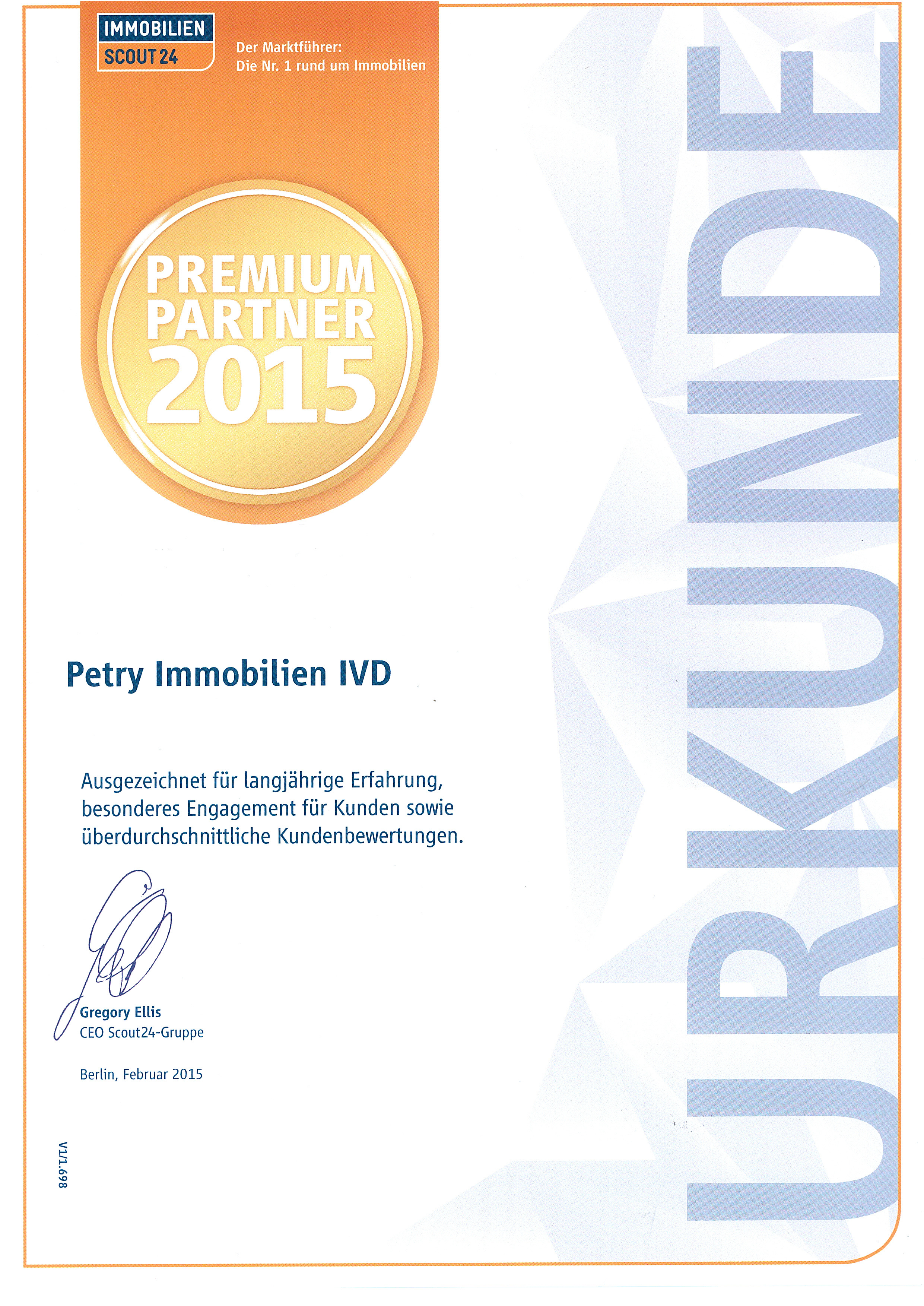 PETRY Immobilien ist Immobilienscout24 - Premiumpartner 2015